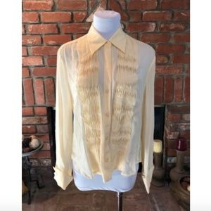 Off Yellow Pleated Button Down Silk Shirt Top